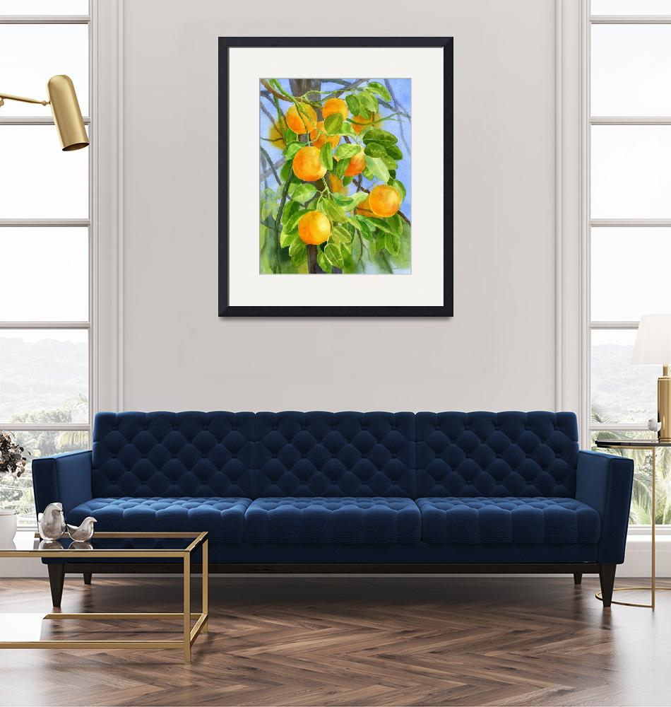 """Oranges on a Branch with background""  (2013) by Pacific-NW-Watercolors"