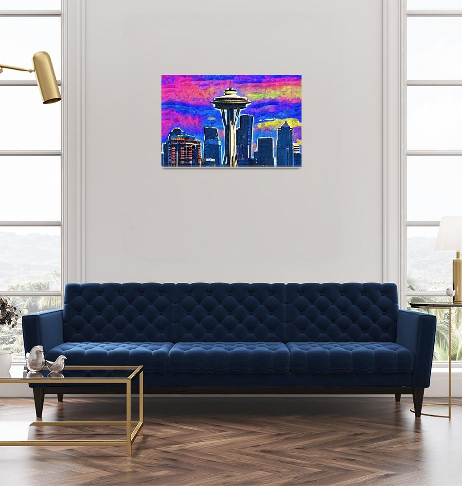 """""""Space Needle Colorful Sky""""  (2015) by Kirtdtisdale"""