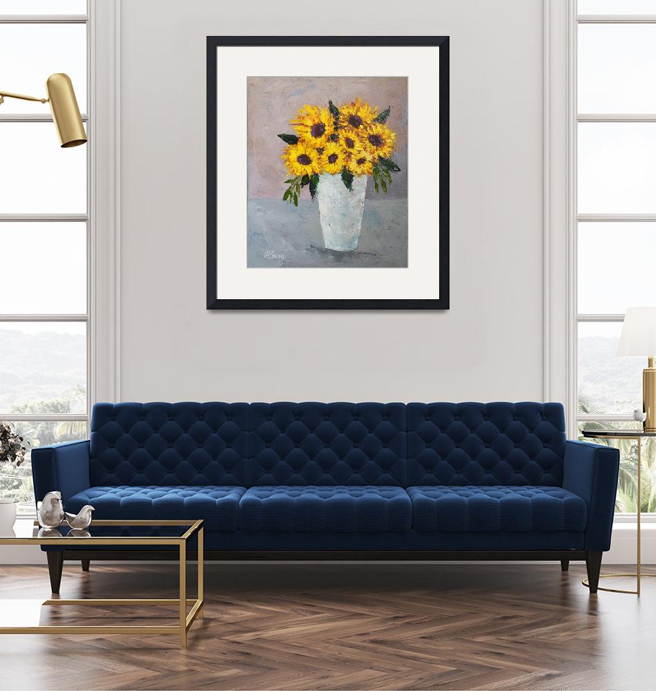 """""""Vase Full of Sunflowers""""  by MarianHanvy"""