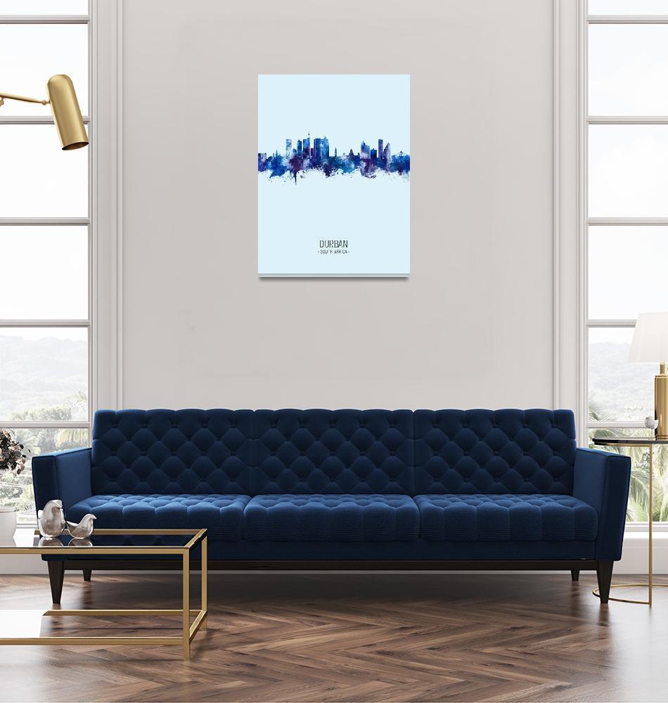 """Durban South Africa Skyline""  (2020) by ModernArtPrints"