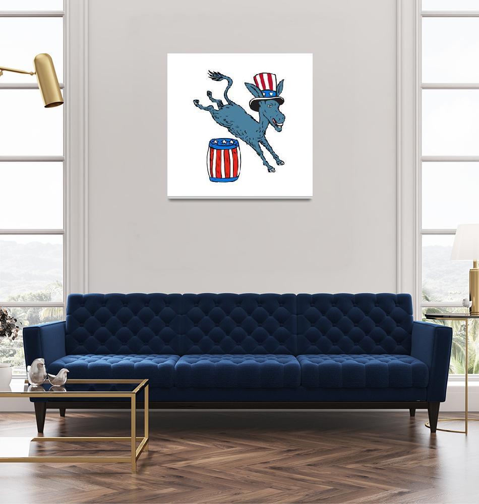 """Democrat Donkey Mascot Jumping Over Barrel Cartoon""  (2015) by patrimonio"