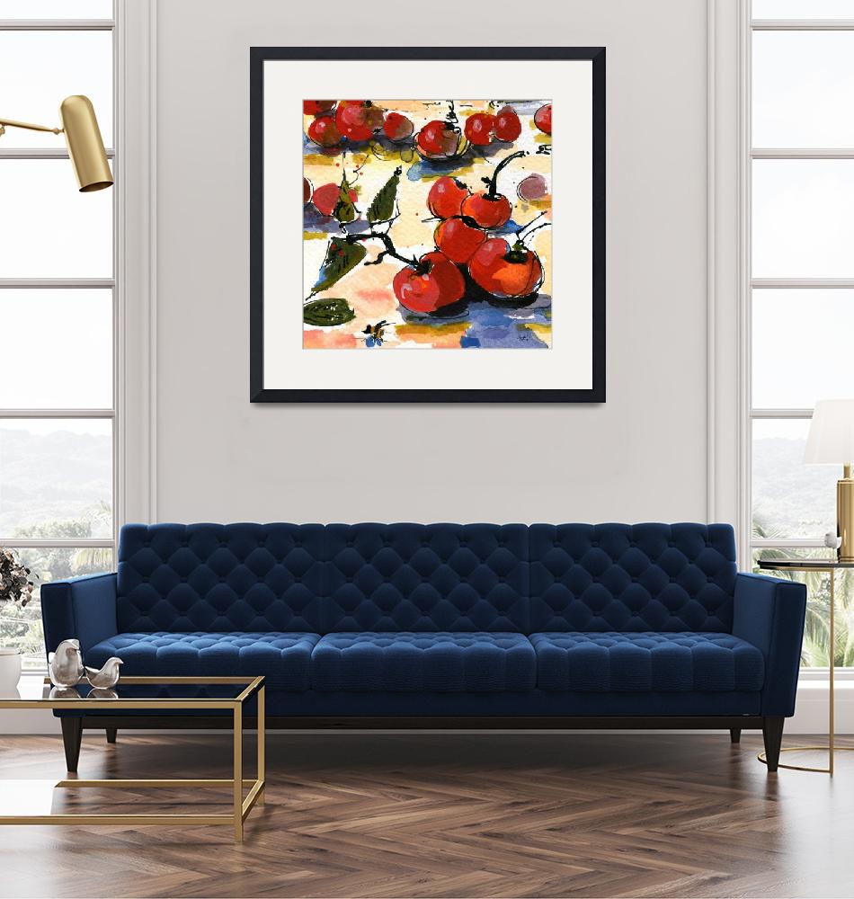 """Modern Cherries Square Watercolor by Ginette""  (2011) by GinetteCallaway"