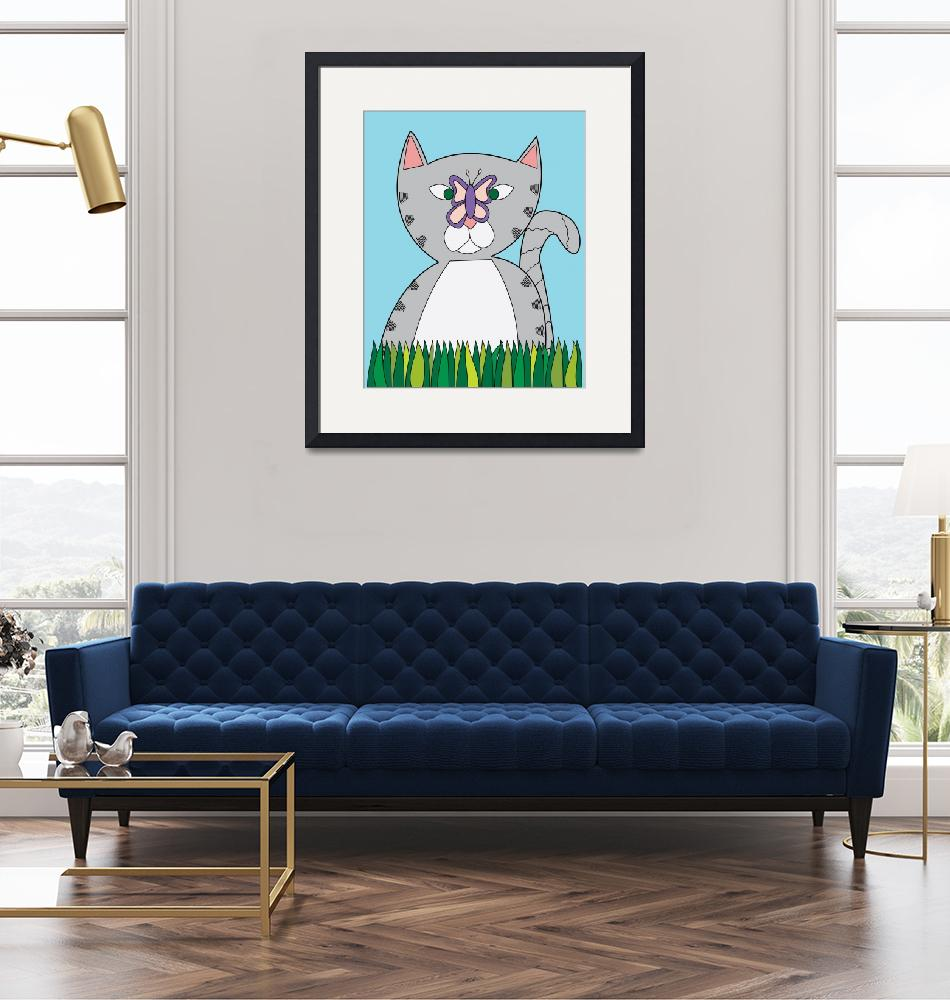 """""""Tabby Cat and Butterfly""""  (2015) by ValeriesGallery"""