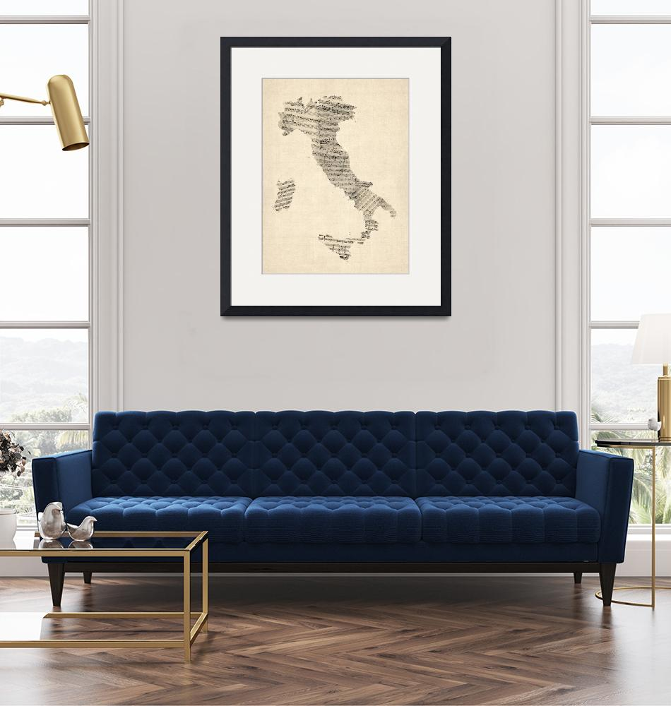"""Old Sheet Music Map of Italy Map"" (2012) by ModernArtPrints"
