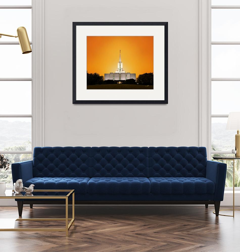 """20x24 Yellow Sunset Jordan River Temple""  by lightvoyages"
