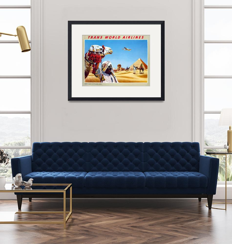 """""""Vintage Airline Egypt Camel and Pyramids""""  by PDGraphics"""