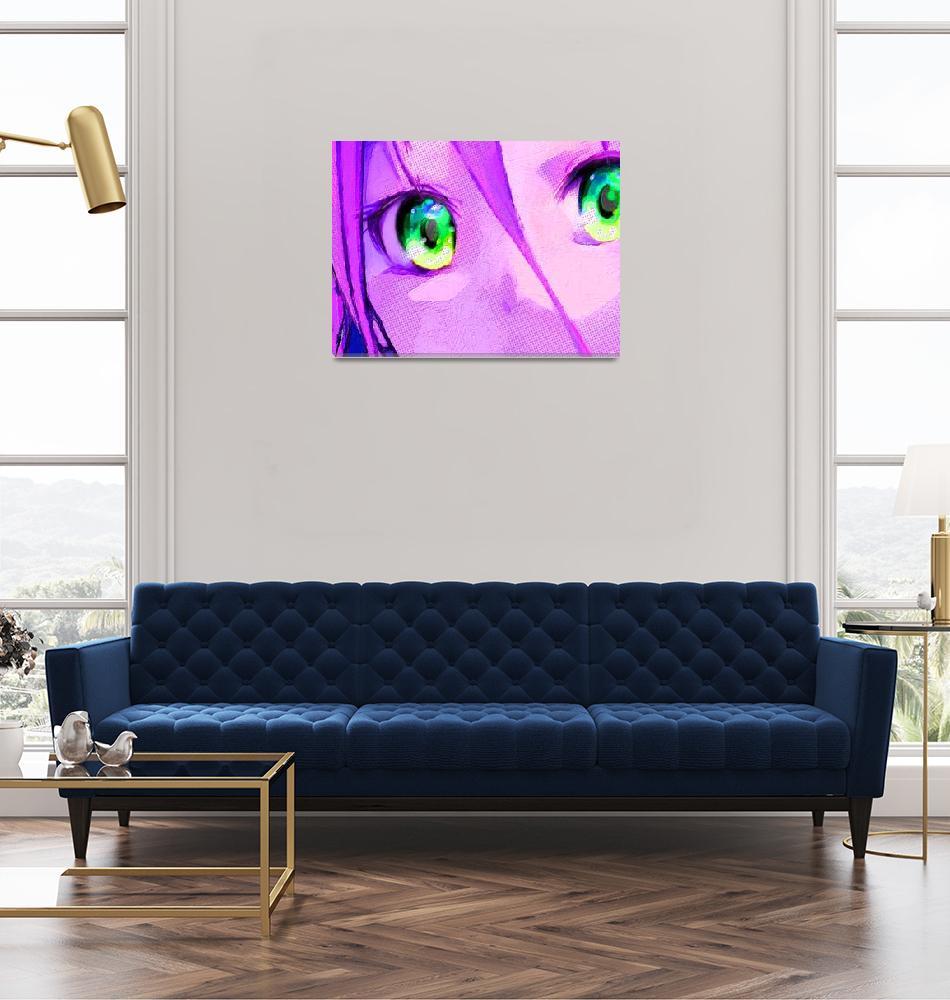"""Anime Girl Eyes Pink""  (2018) by RubinoFineArt"