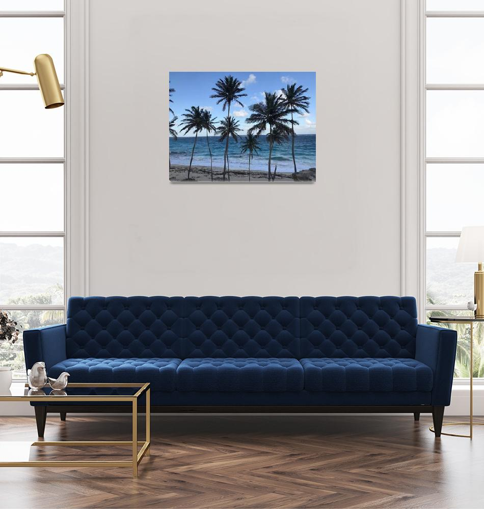 """""""Barbados Beach with Tall Palm Trees""""  by Alleycatshirts"""