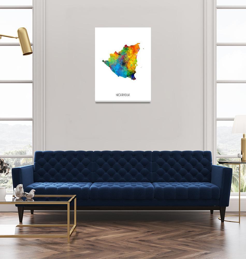 """Nicaragua Watercolor Map""  (2019) by ModernArtPrints"