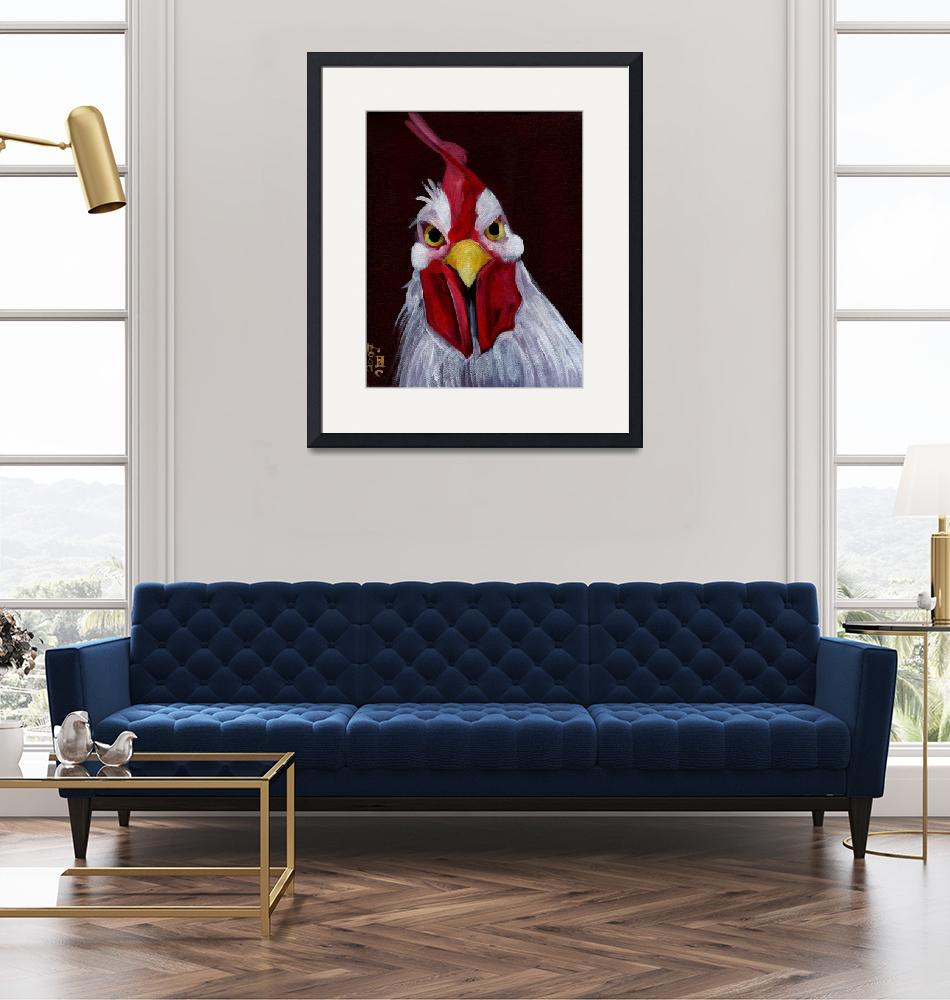 """""""RU Looking at Me - Angry White Rooster""""  (2007) by artchiz"""