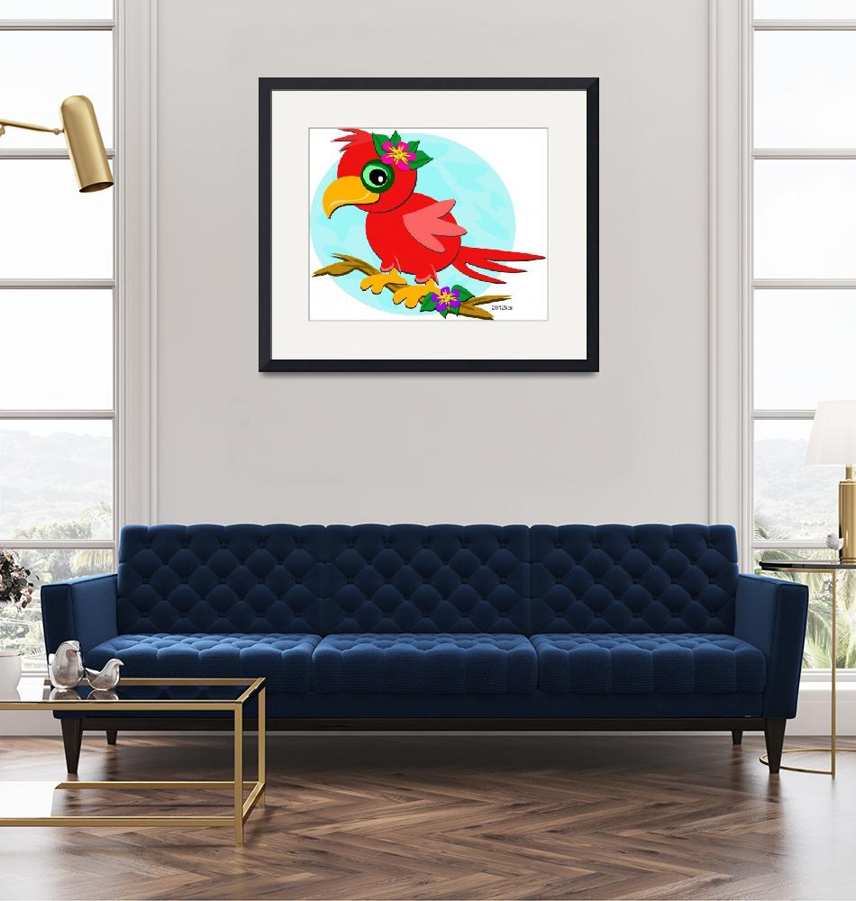 """""""Red Parrot with a Flower""""  (2012) by theblueplanet"""