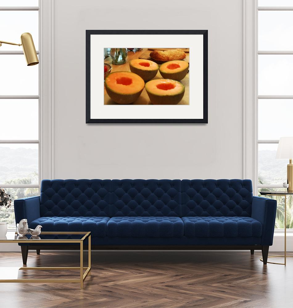 """Cantaloupe On Cutting Board""  (2010) by vncstone"