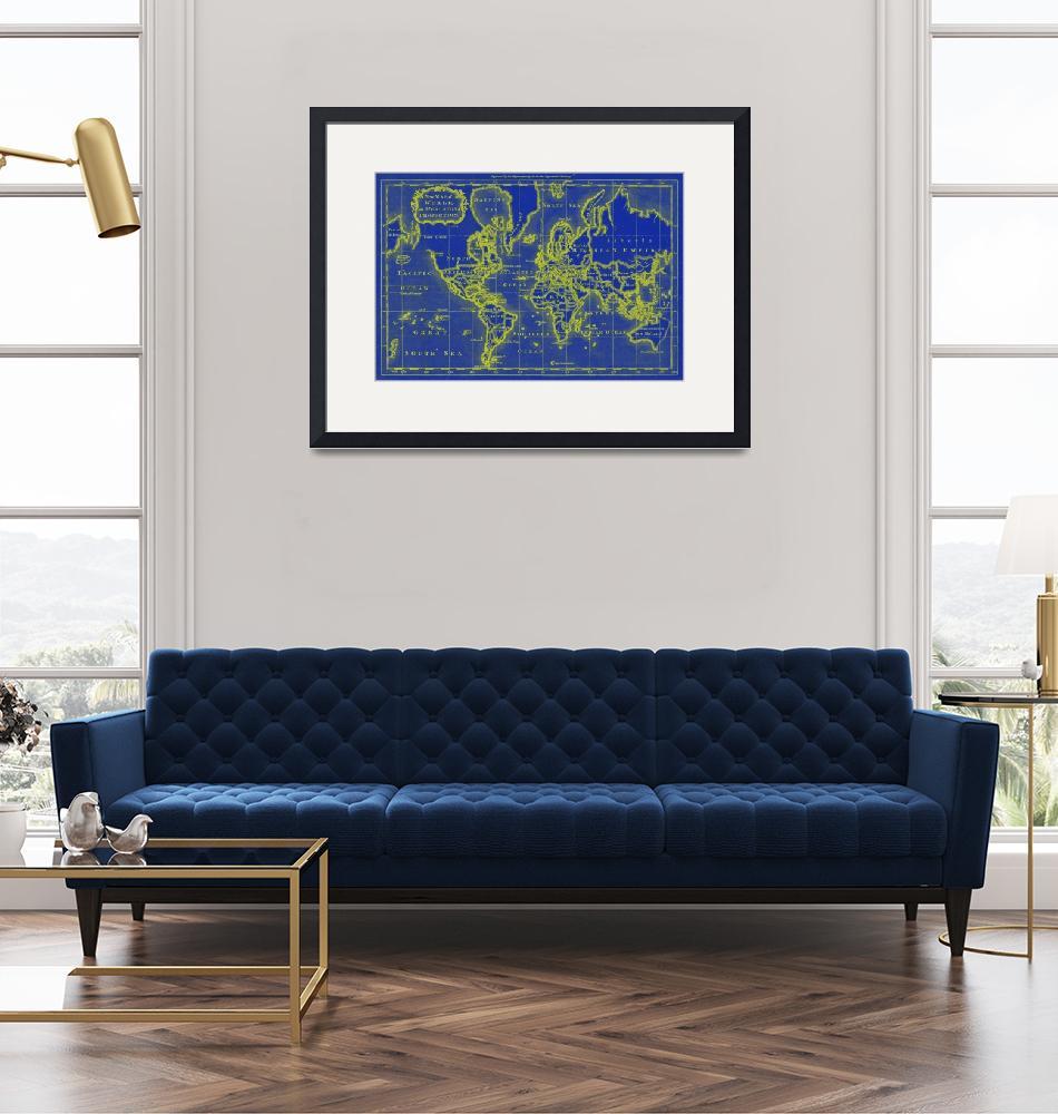 """World Map (1766) Blue & Yellow""  by Alleycatshirts"