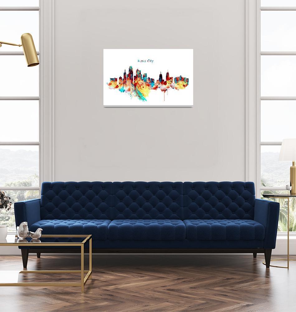 """Kansas City Skyline Silhouette""  (2016) by MarianVoicu"
