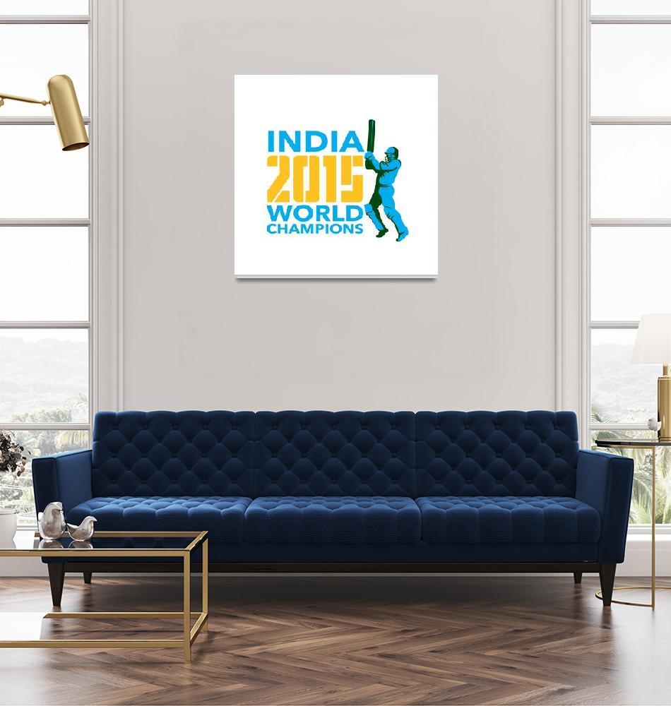 """India Cricket 2015 World Champions Isolated""  (2015) by patrimonio"