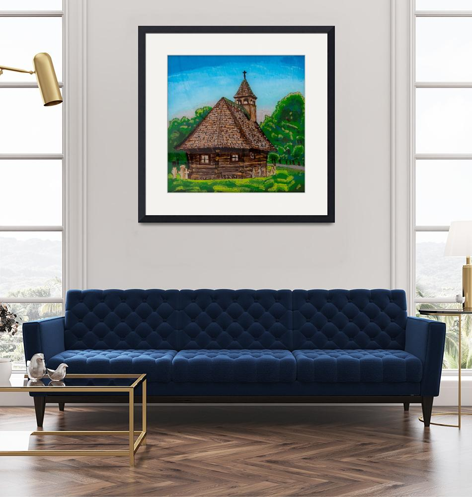 """""""Reverse Glass Painting of Wooden Church""""  (2018) by visfineart"""
