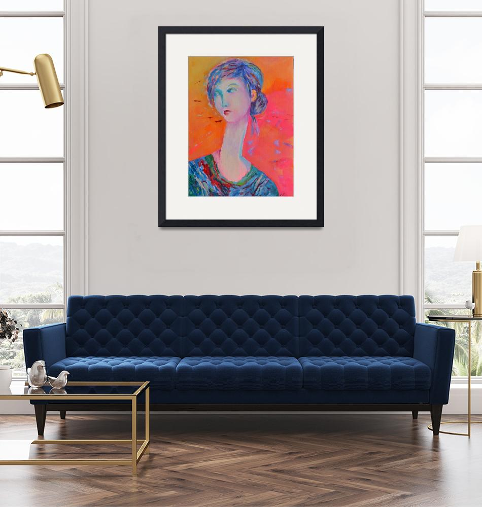 """""""Woman Portrait Girl Modigliani Style Living Room""""  (2016) by Maggy"""