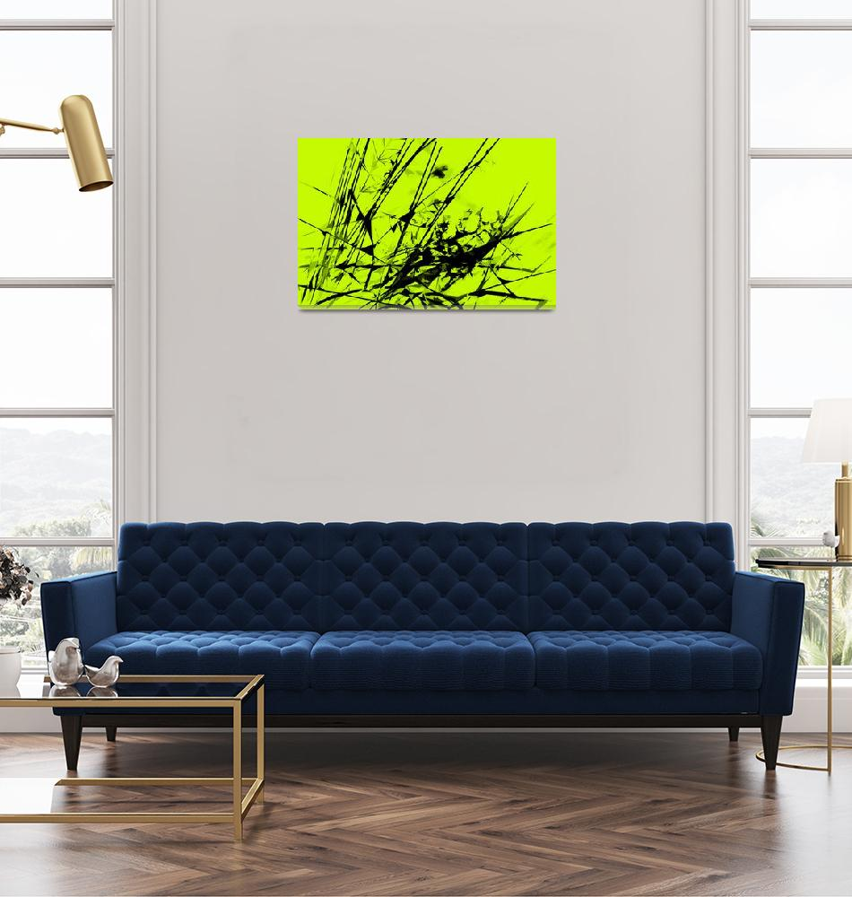 """""""Strike Out Lime Green and Black Abstract""""  (2012) by NatalieKinnear"""