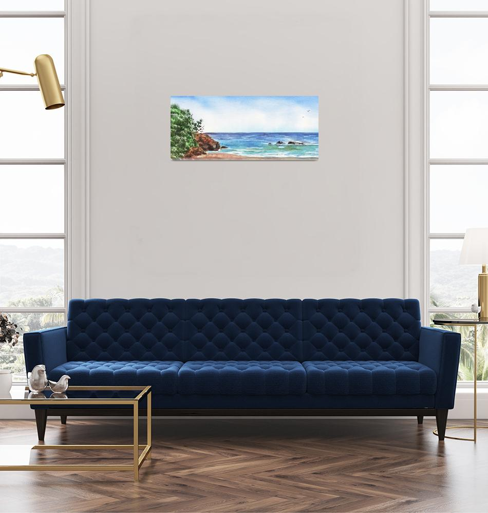 """Long Calm Beach Watercolor Seascape Painting""  (2019) by IrinaSztukowski"