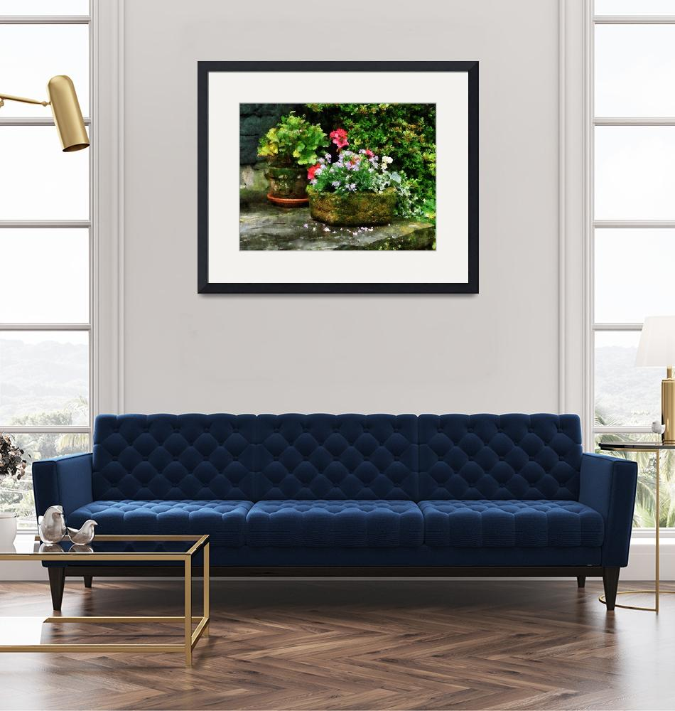"""""""Geraniums and Lavender Flowers on Stone Steps""""  by susansartgallery"""