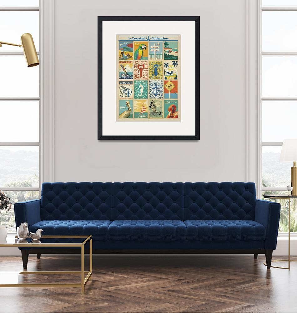 """""""Coastal Postcard Collection - Retro Travel Poster""""  by artlicensing"""