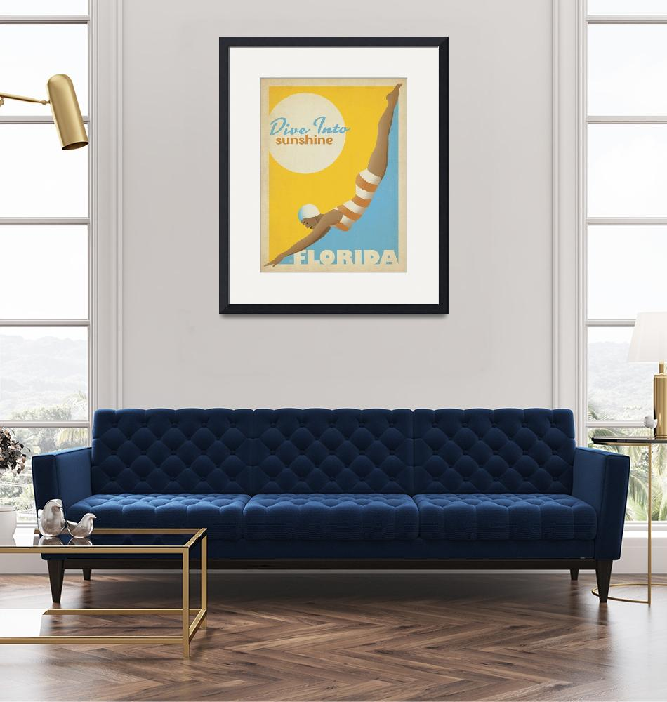 """""""Florida: Dive Into Sunshine Retro Travel Poster""""  by artlicensing"""