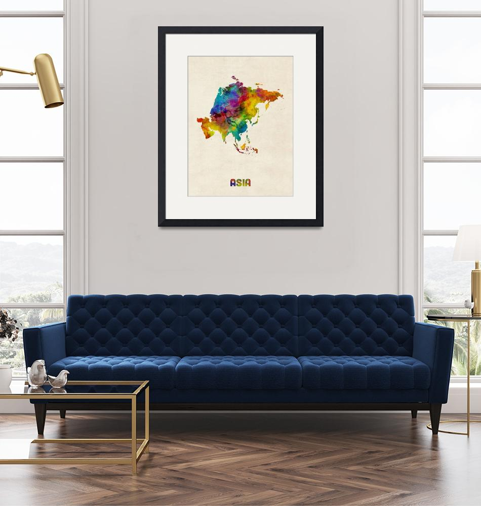 """""""Asia Continent Watercolor Map""""  (2018) by ModernArtPrints"""