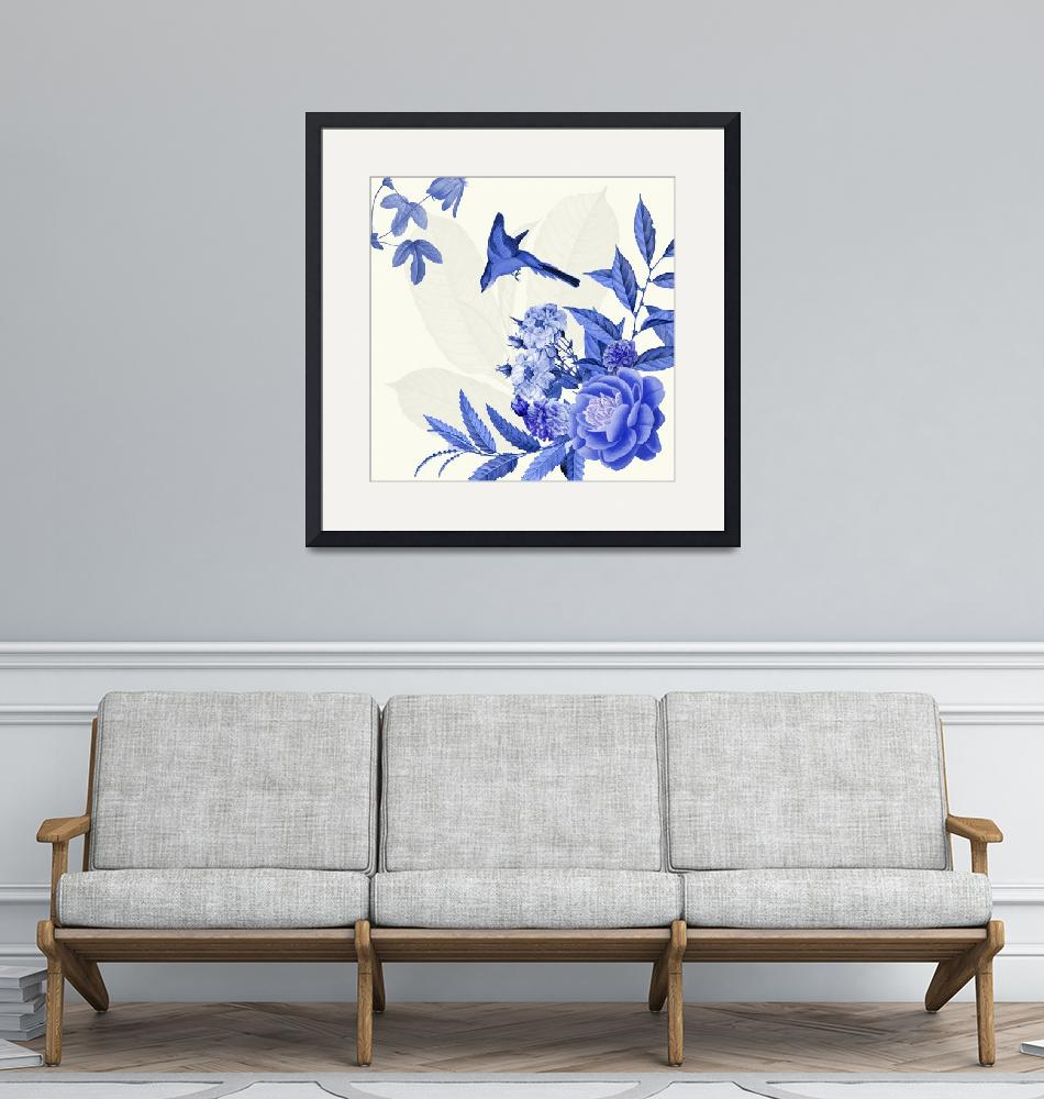 """China Flower Blue and white""  (2015) by BDspace"