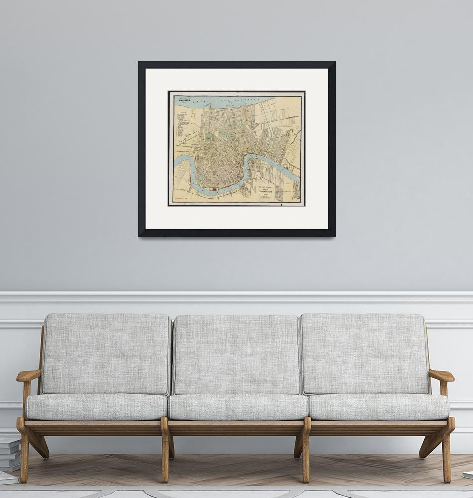"""""""Vintage Map of New Orleans Louisiana (1919)""""  by Alleycatshirts"""