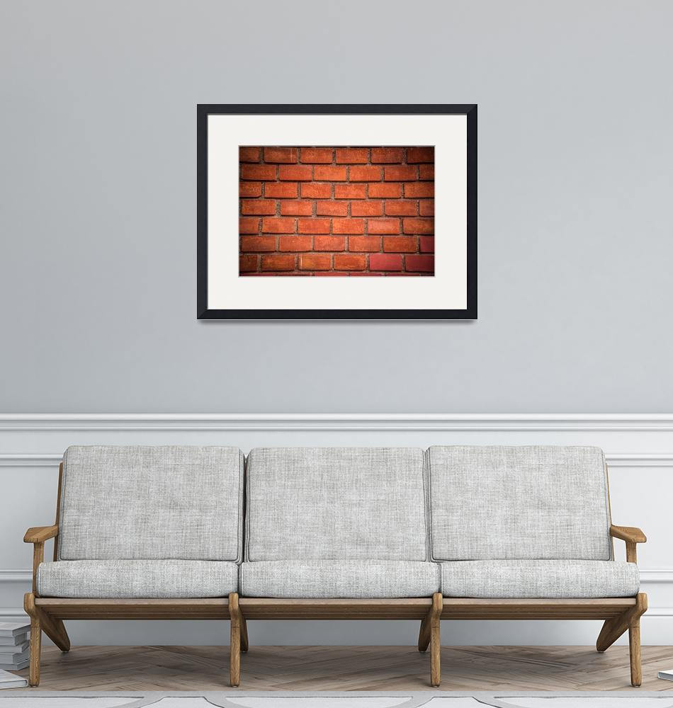 """""""Red brick wall texture with dark vignette""""  (2018) by creative_photography"""