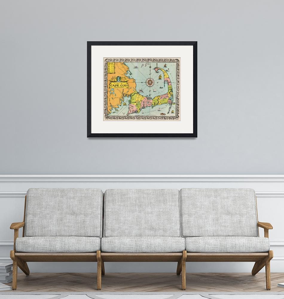"""Vintage Cape Cod Map (1932)"" (1932) by Alleycatshirts"