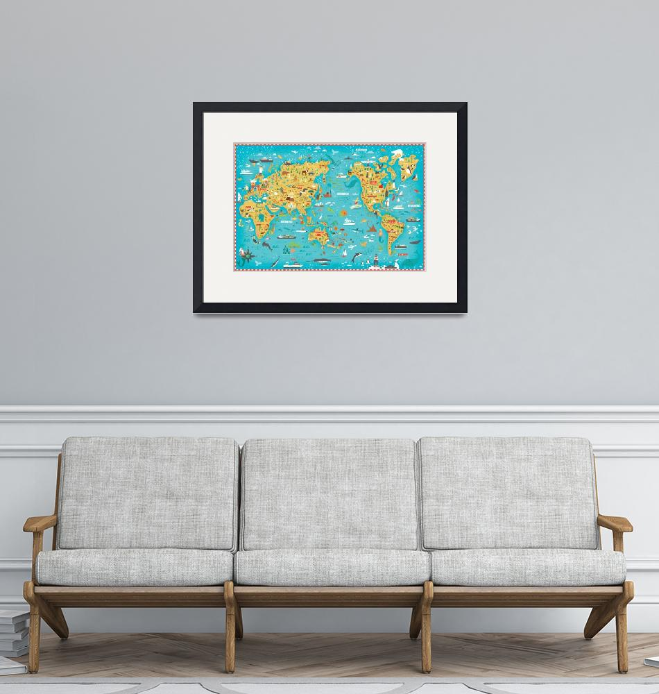 """Illustrated Map of the World by Nate Padavick""  by TheyDrawandCook"