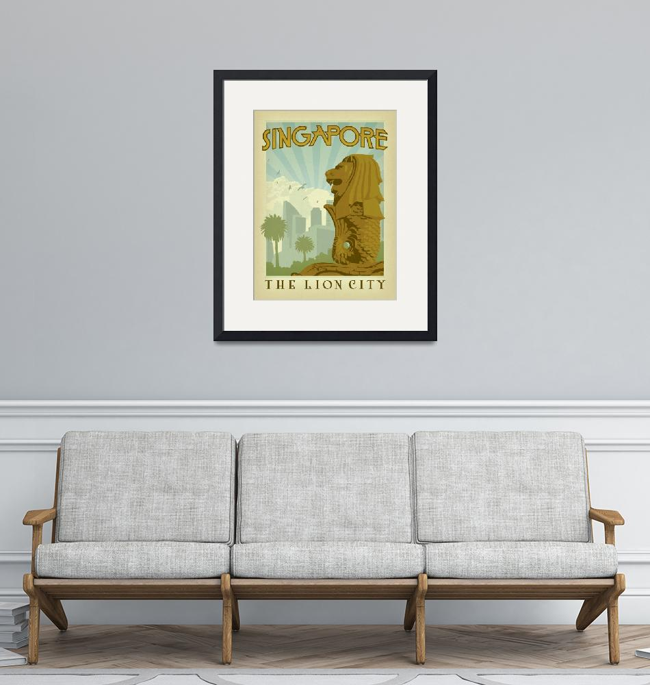 """""""Singapore: The Lion City Retro Travel Poster""""  by artlicensing"""
