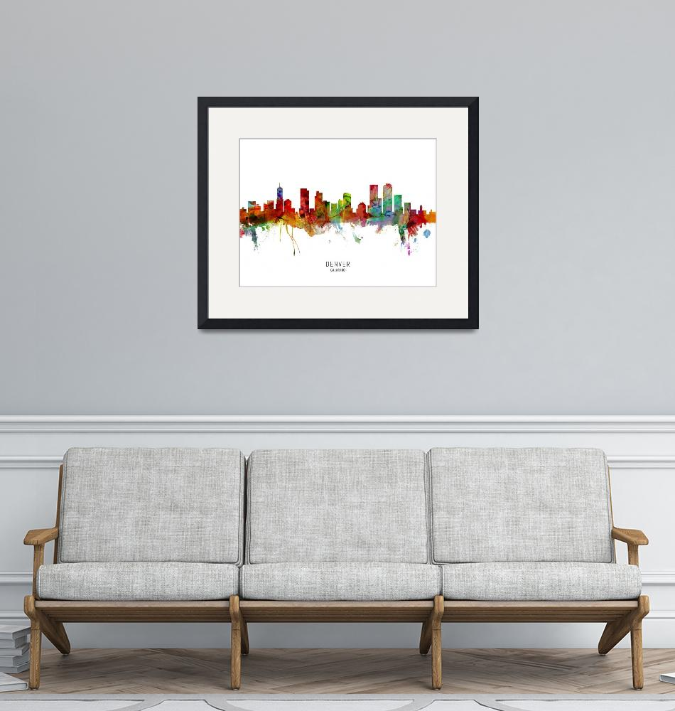 """Denver Colorado Skyline""  (2019) by ModernArtPrints"