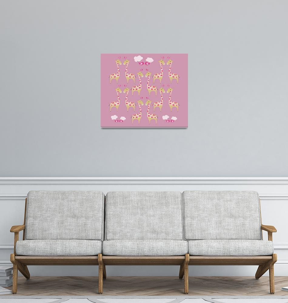 """Cute Pink Giraffes Illustration""  (2014) by CristinaBianco"