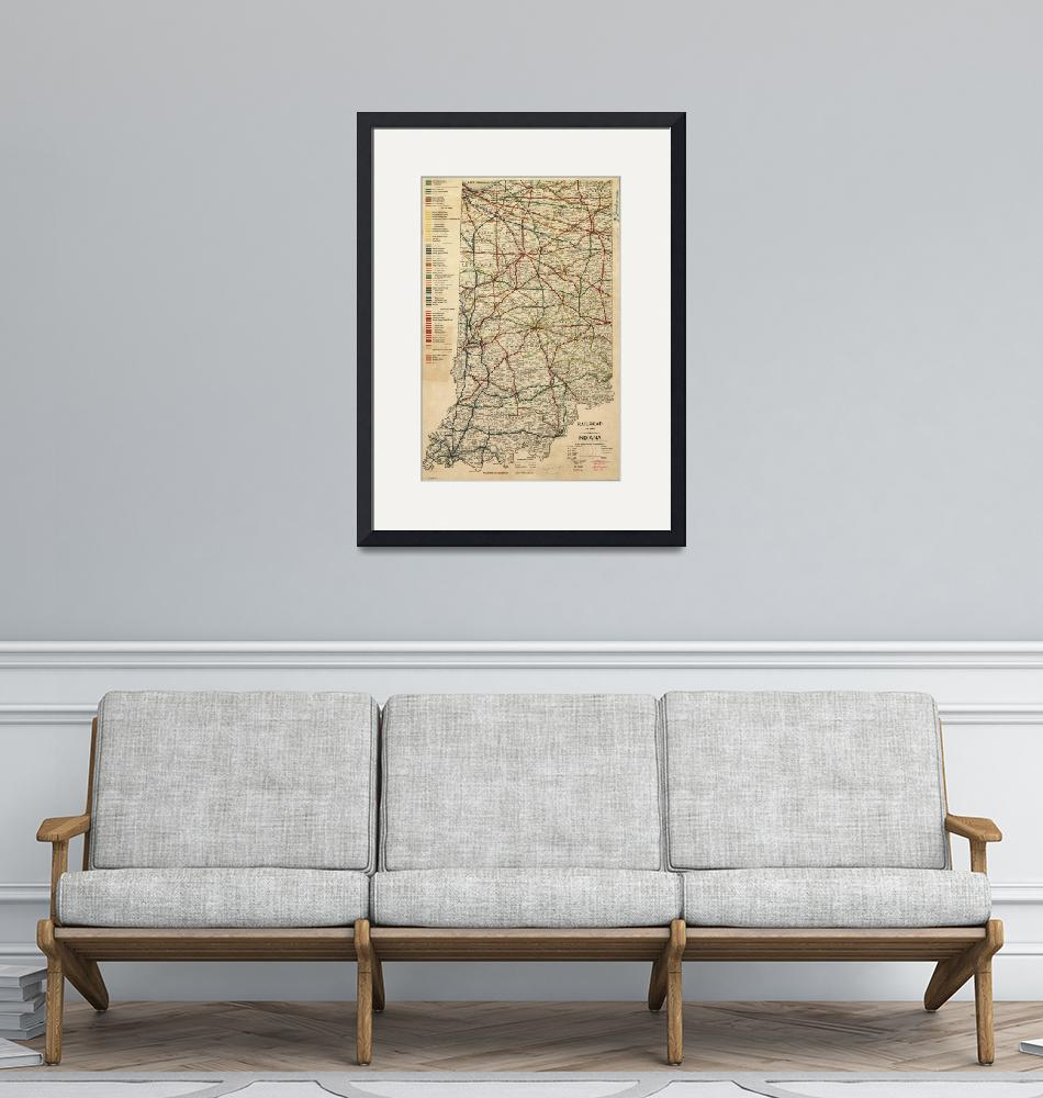 """Vintage Map of The Indiana Railroad System (1896)""  by Alleycatshirts"