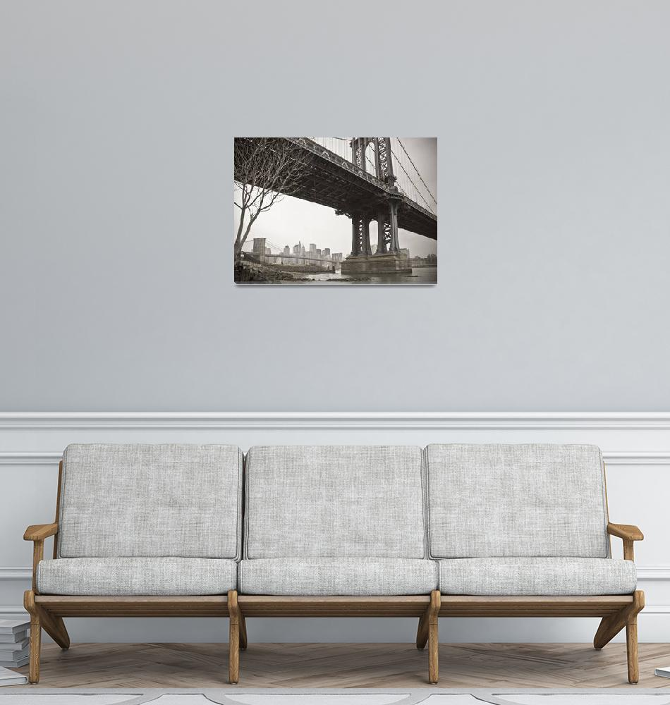 """Manhattan + Brooklyn Bridges New York City""  (2007) by AlanCopson"