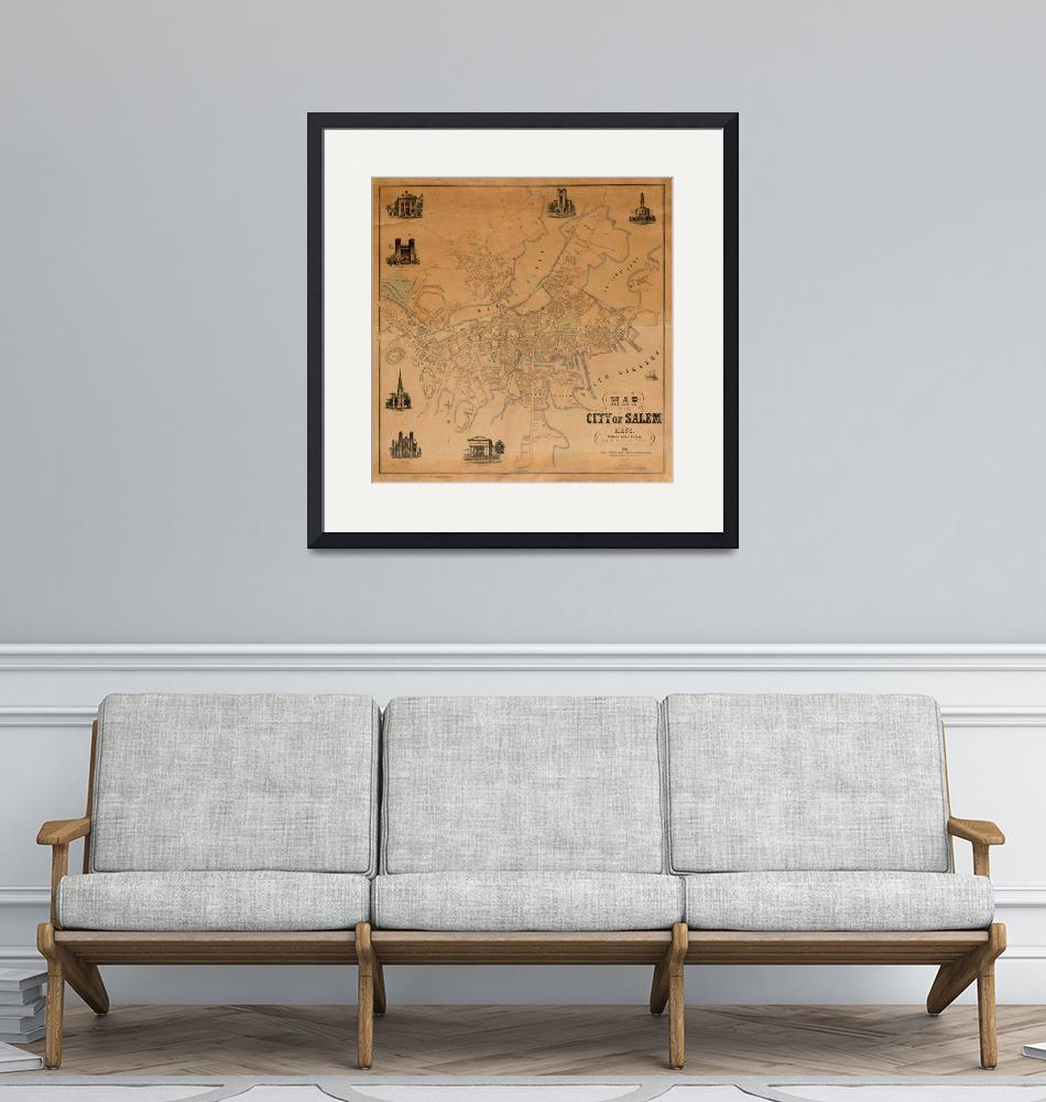 """Vintage Map of Salem MA (1851)""  by Alleycatshirts"