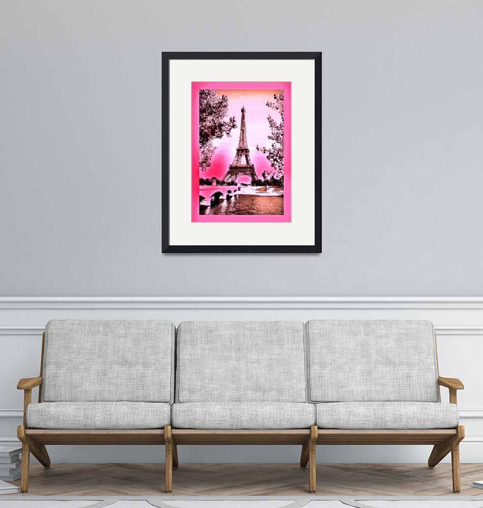 """""""Eiffel Tower Paris France Enhanced Pink with borde""""  (2013) by TheNorthernTerritory"""