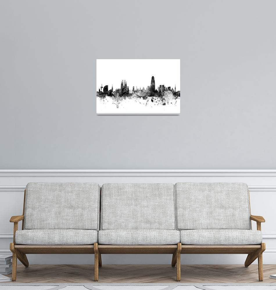 """Barcelona Spain Skyline""  (2015) by ModernArtPrints"