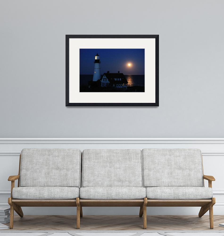 """Moonrise over Portland Headlight""  (2012) by crazysuncompany"