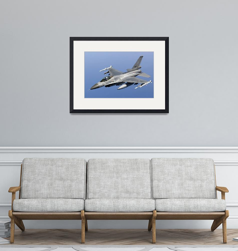 """""""A Dutch F-16AM armed with AIM-120 AMRAAM and AIM-9""""  by stocktrekimages"""