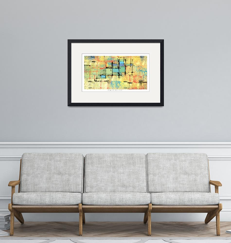 """Green Lattice on Yellow Abstract Painting"" by karynlewis"
