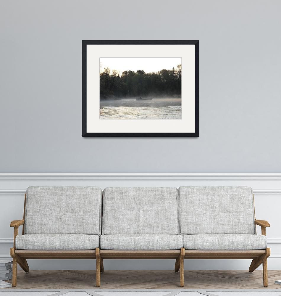 """""""Mississippi river fisherman at dawn""""  (2010) by niftywares"""