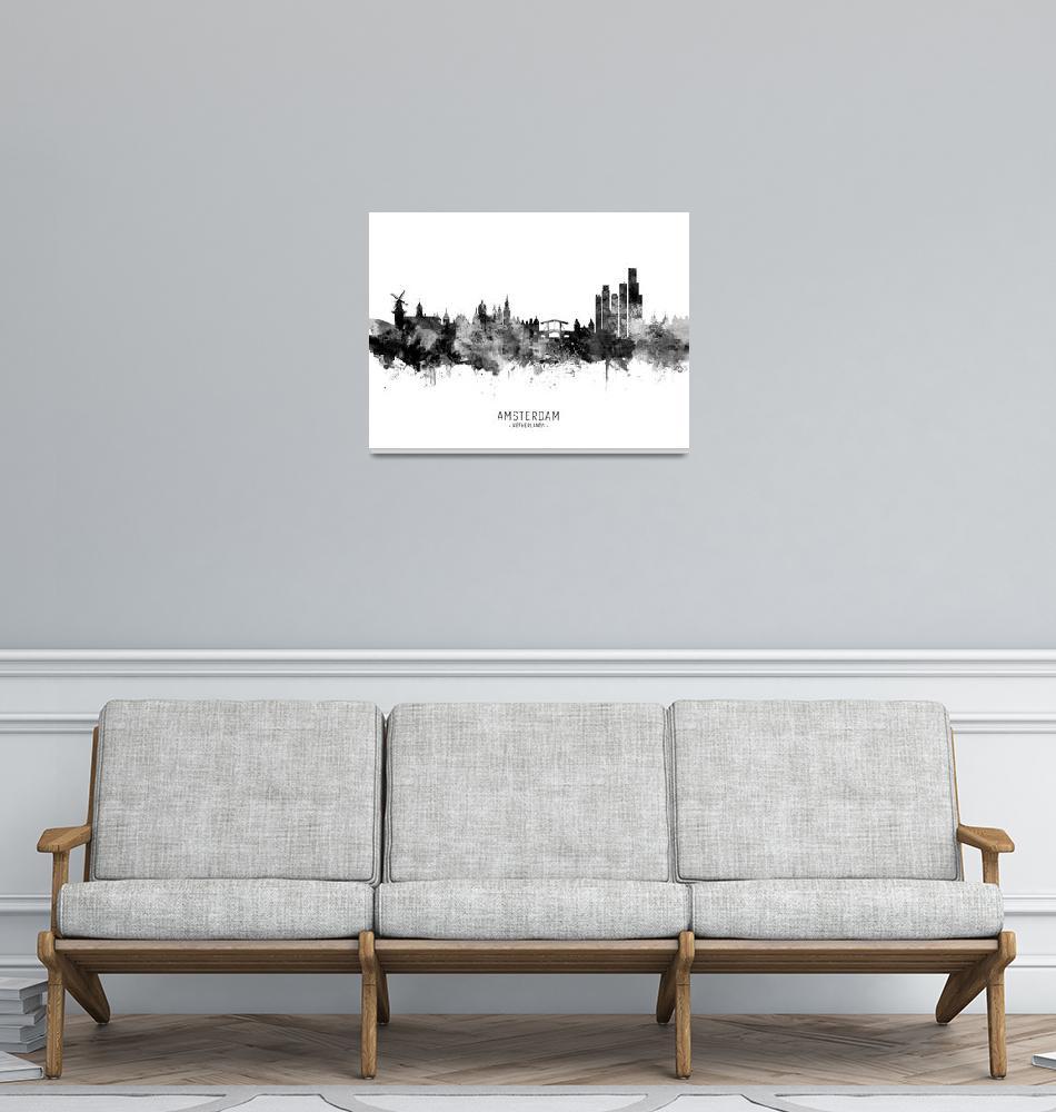 """Amsterdam The Netherlands Skyline""  (2019) by ModernArtPrints"