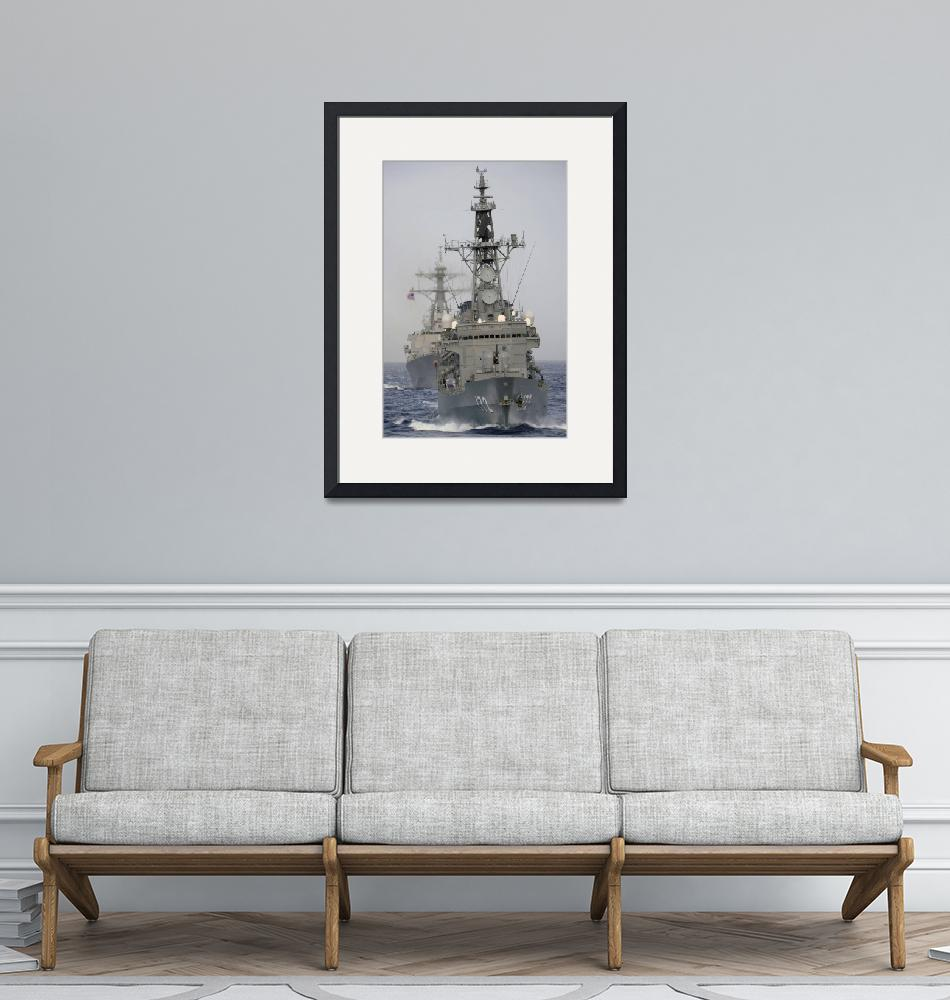 """""""JDS Shimakaze sails in formation with U.S. Navy an""""  by stocktrekimages"""