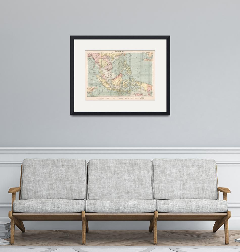 """""""Vintage Map of Indonesia and The Philippine Ports""""  by Alleycatshirts"""