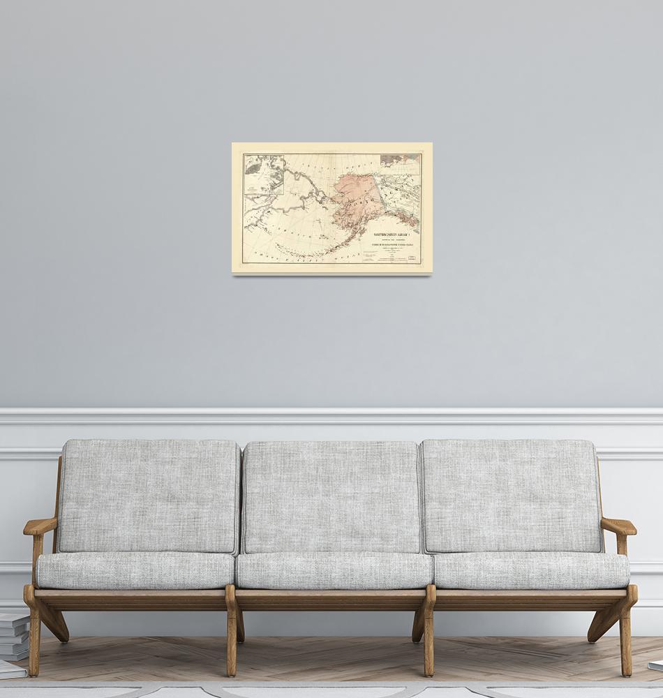 """""""Northwestern America, Alaska Map (1867)""""  by ArtHistory"""