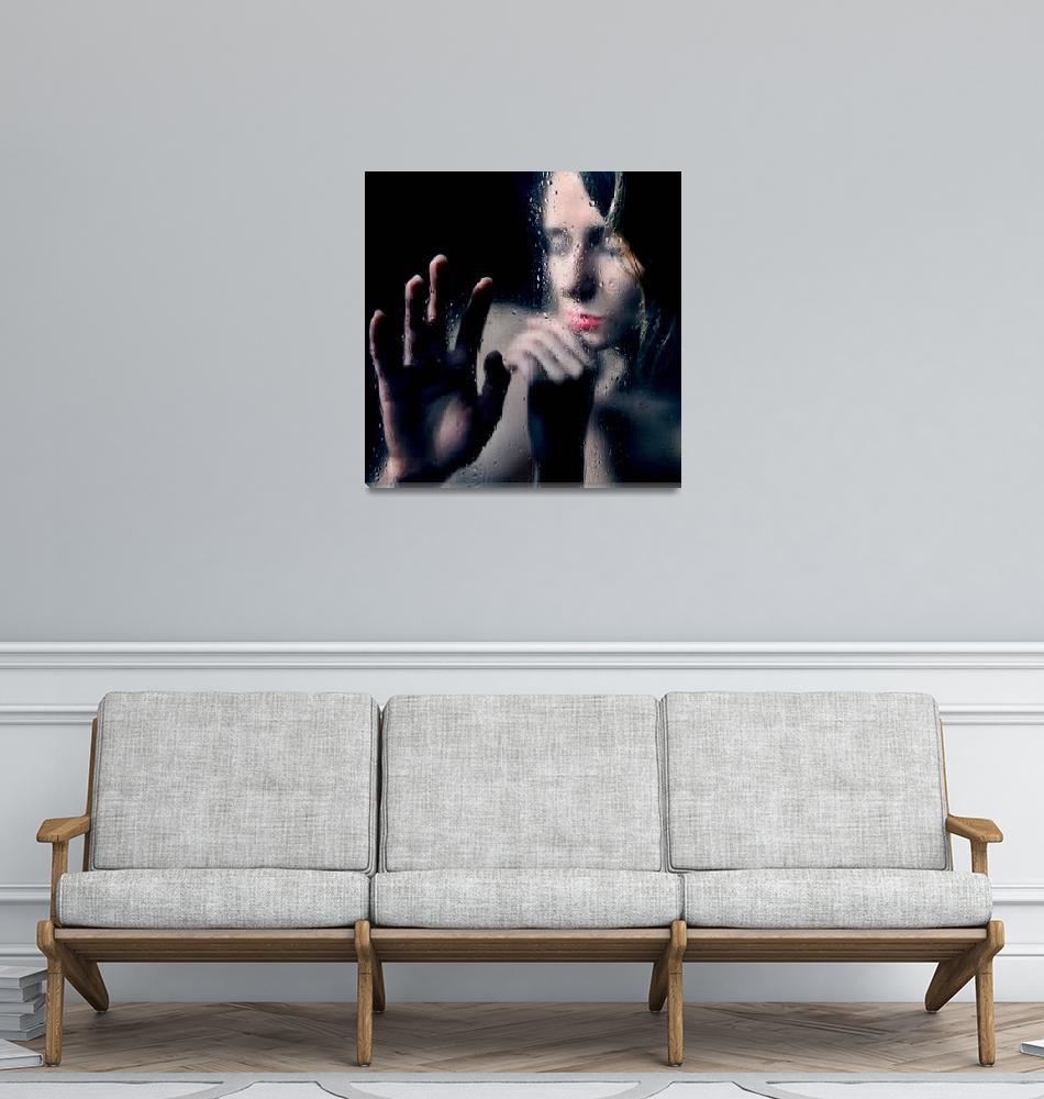 """Woman portrait behind glass with rain drops""  by 4u"