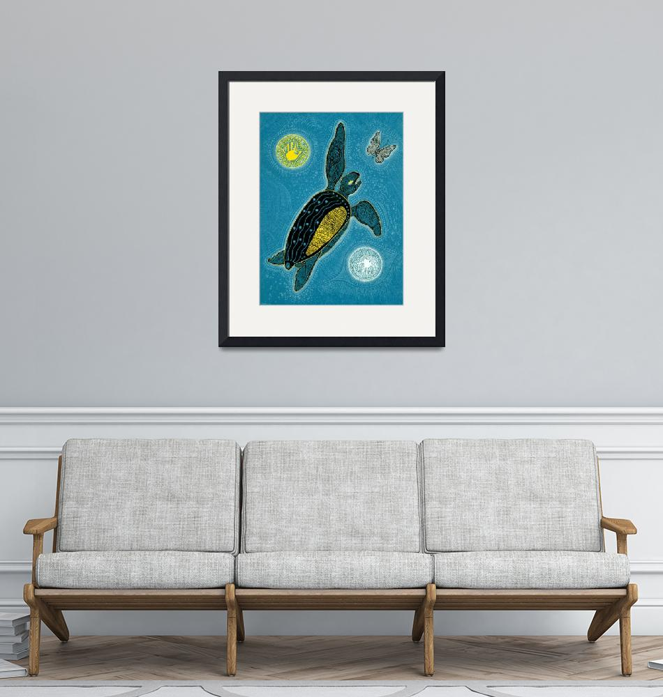 """""""Sea Turtle and Butterfly (Pinta Blue Version)""""  (2009) by MickSylvestre"""